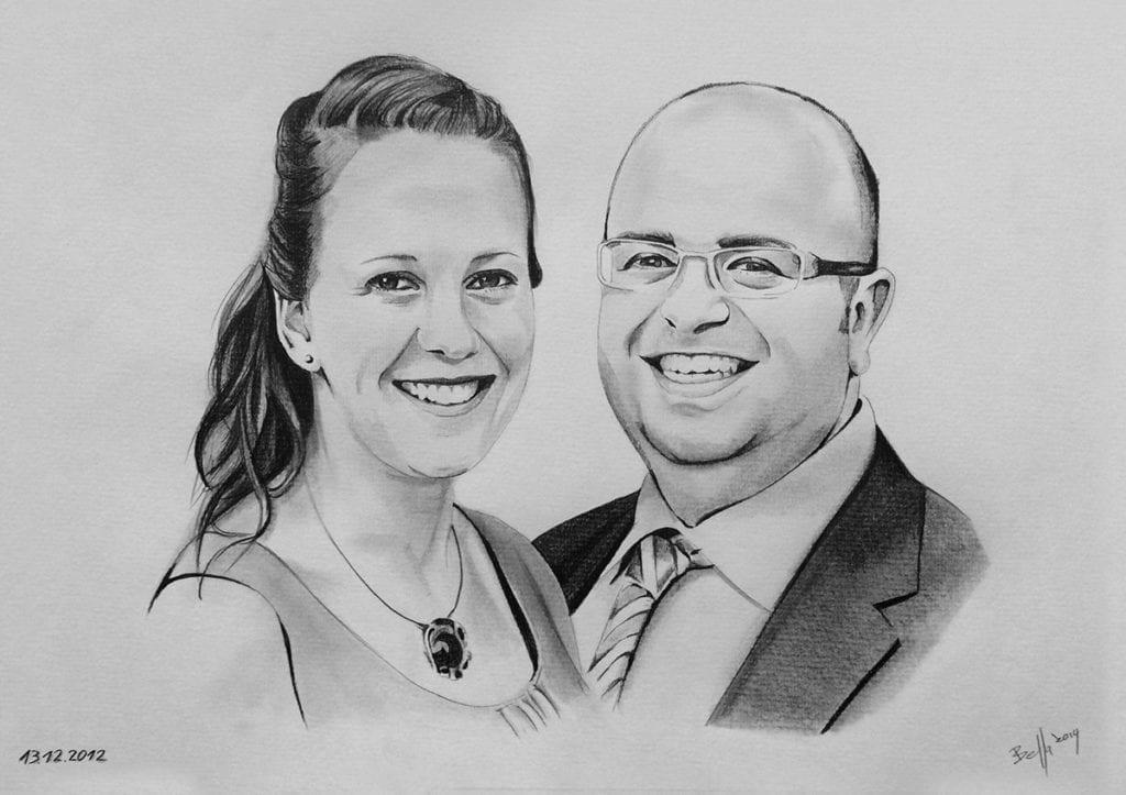 Paar als Bleistiftzeichnung