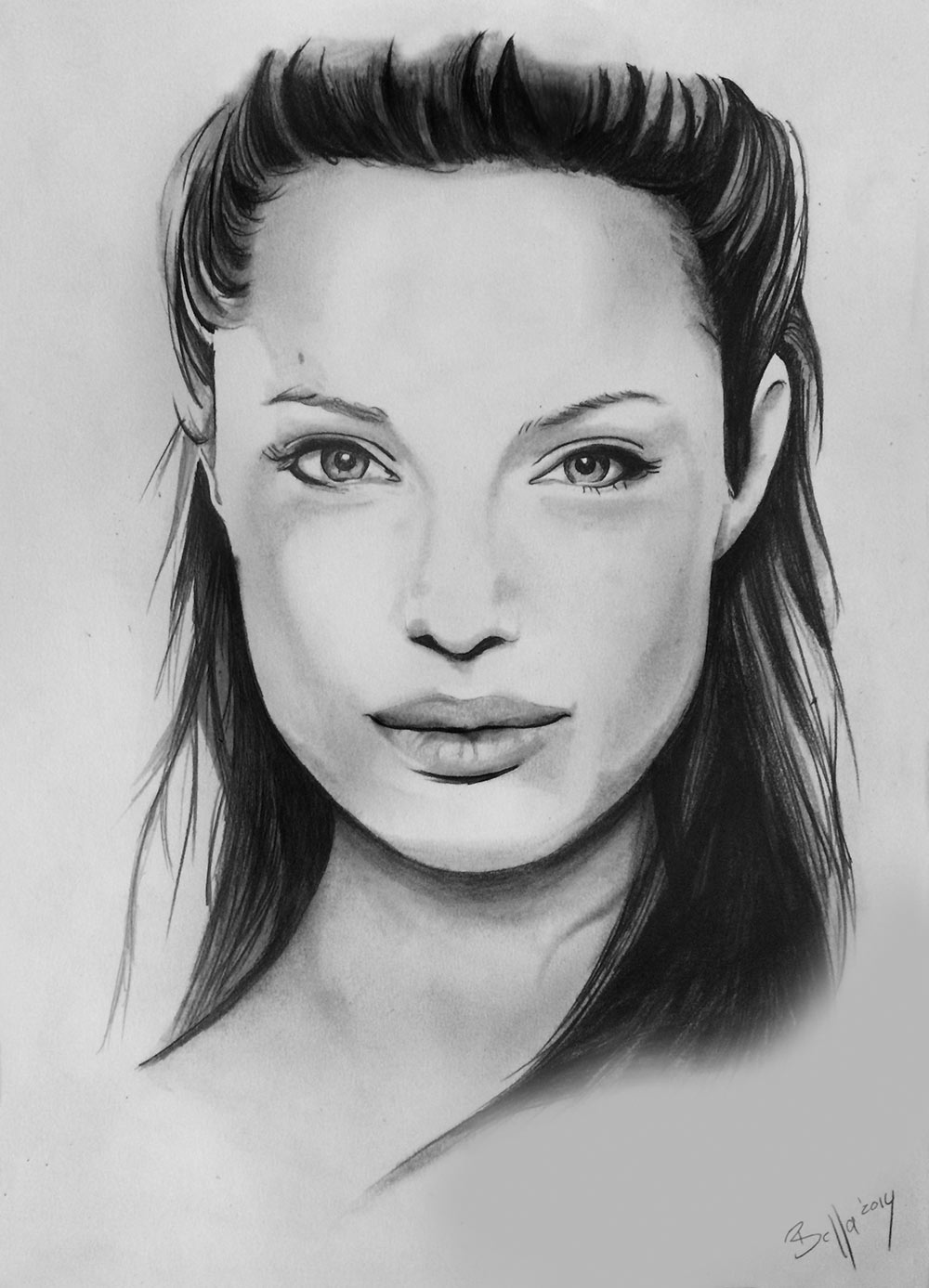 Bleistiftzeichnung von Angelina Jolie