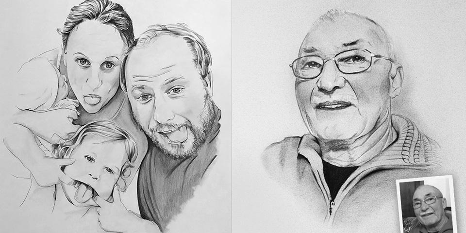 Portrait zeichnen lassen von eigener Fotovorlage