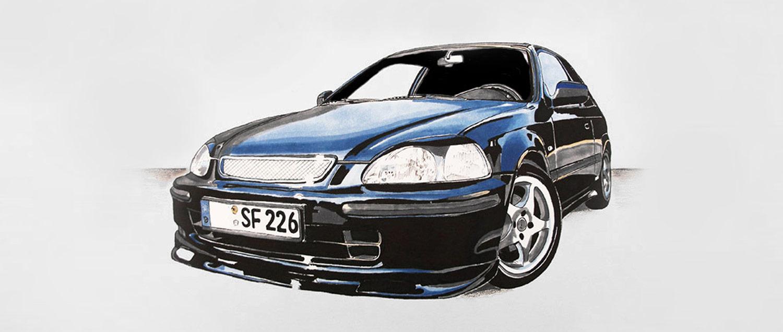 Autozeichnung eines Hondas