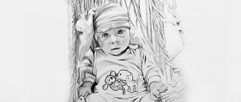 Baby zeichnen lassen nach Fotovorlage