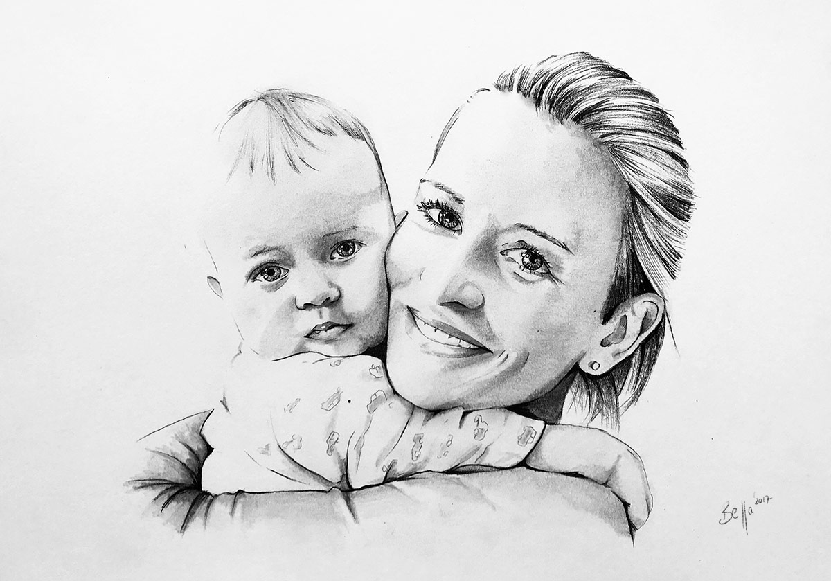 Zeichnung von Mutter und Kind in DIN A3