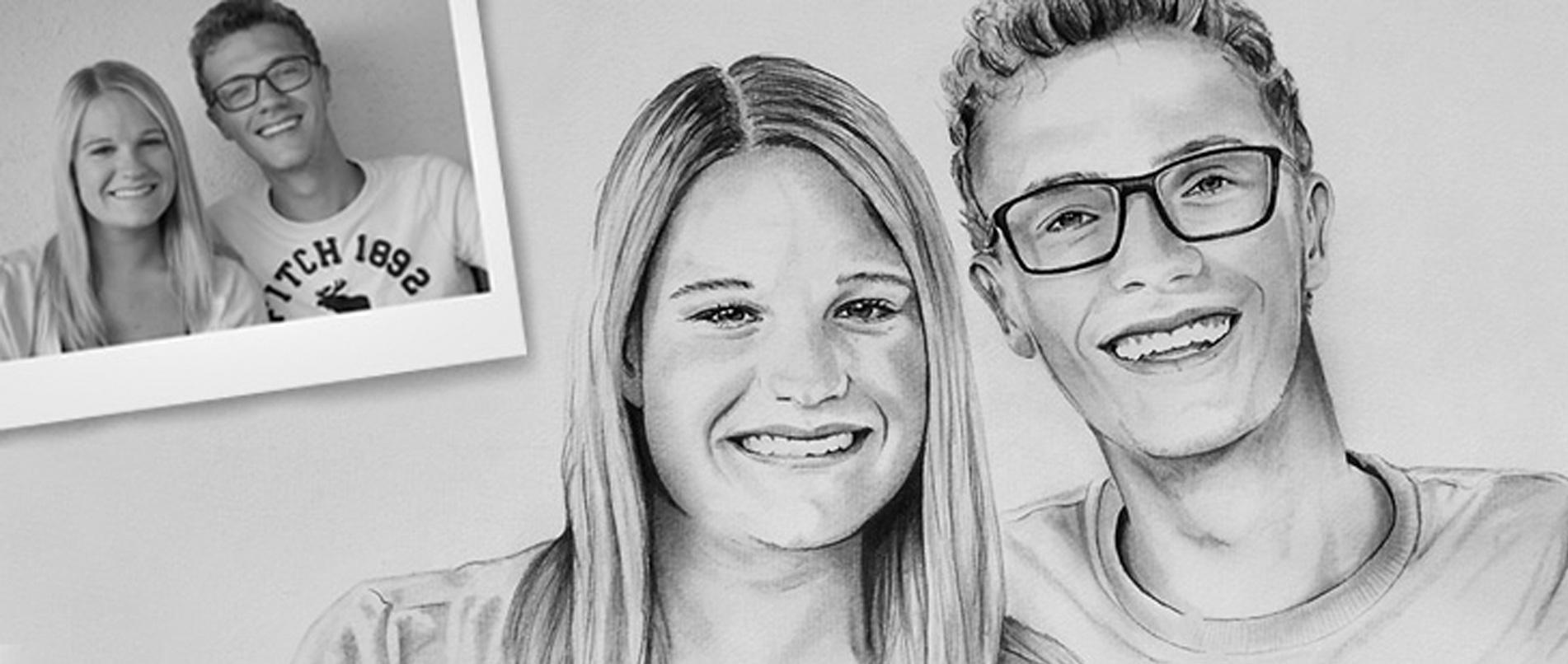 Portrait zeichnen lassen Bleistiftzeichnung