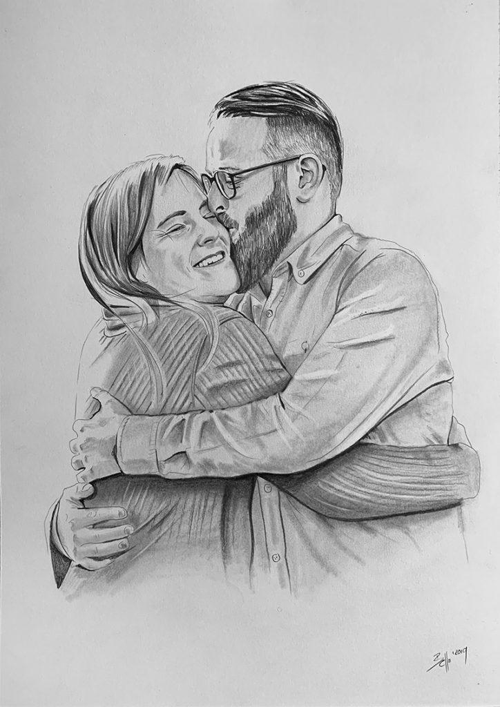 Portrait malen lassen vom Foto Bleistiftzeichnung
